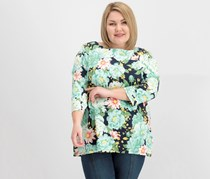 Charter Club Plus Size Floral-Print Boat-Neck Top, Intrepid Blue Combo