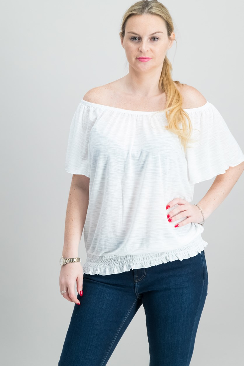 Convertible Off-The-Shoulder Top, Winter White