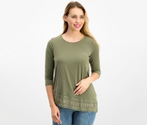 Jm Collection Petite Studded Asymmetrical Tunic, Olive Sprig