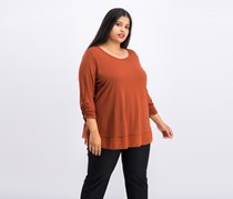 Women Plus Size Three-Quarter-Sleeve Top, Rich Auburn
