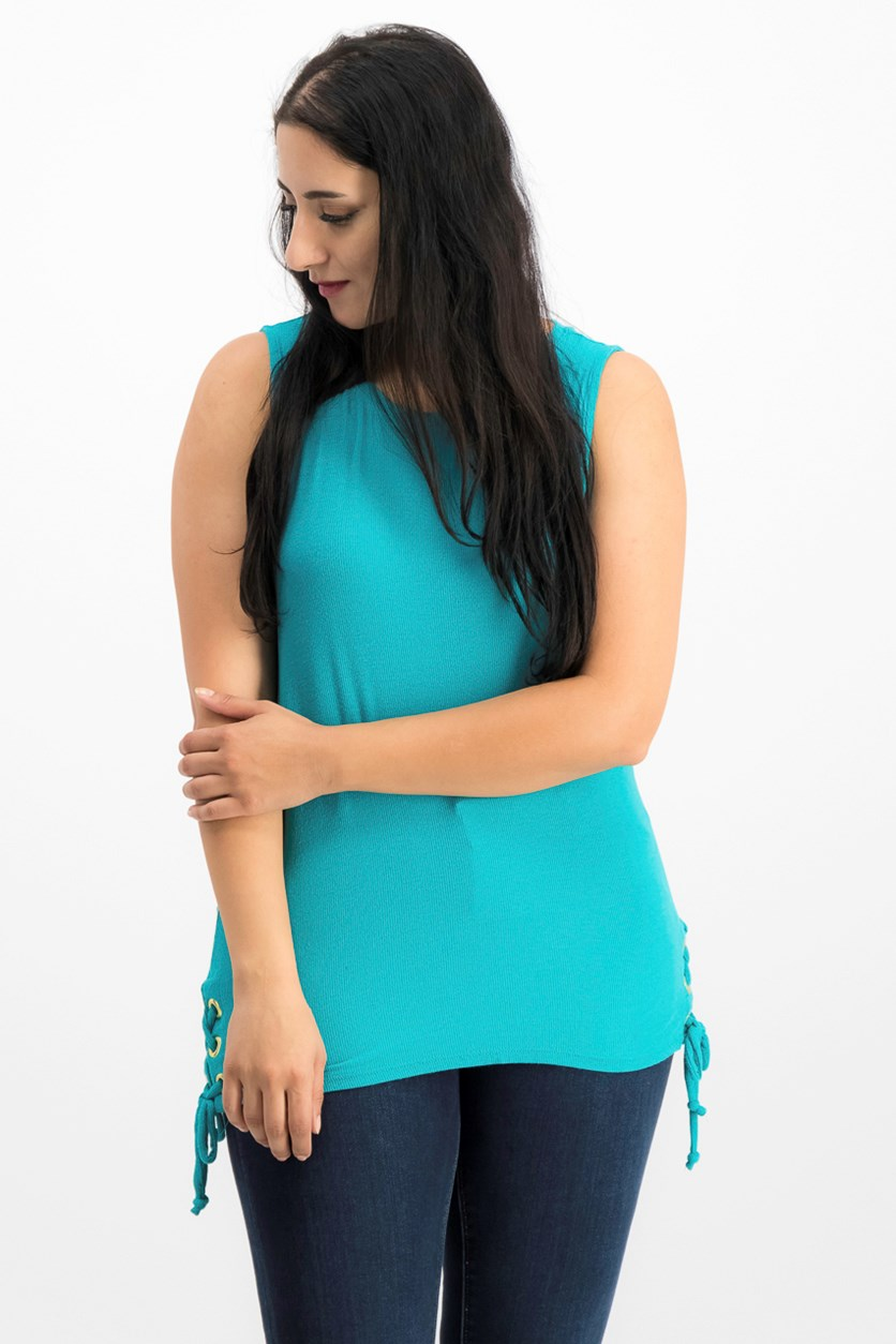 International Concepts Lace-Up Tank Top, Teal Glow