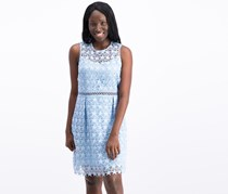Women Star-Pattern Lace Fit Flare Dress, Light French Blue