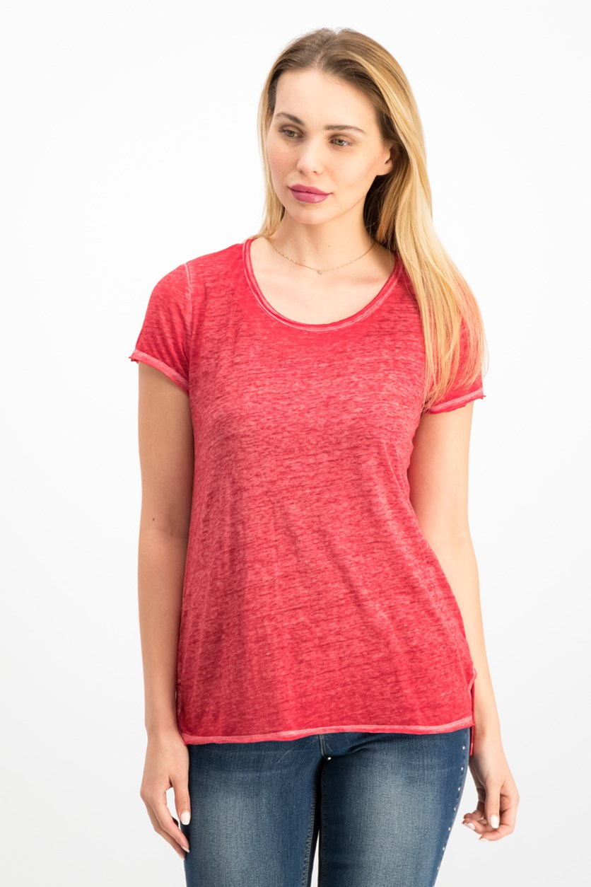 International Concepts High-Low T-Shirt, Glazed Berry
