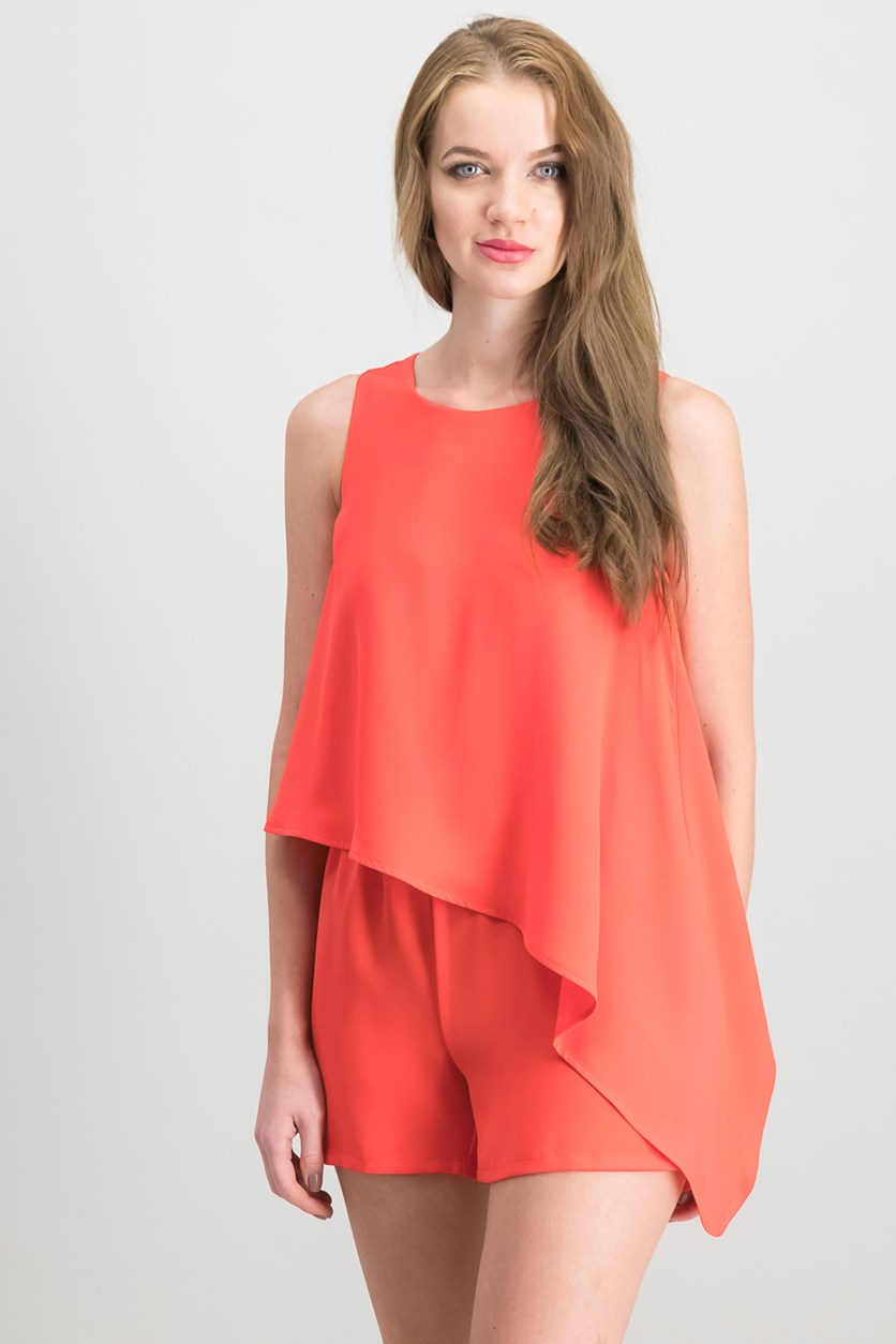 Asymmetrical Romper, Hibiscus Bloom