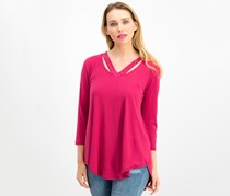 Jm Collection Women's Embellished Cutout Top, Berry Riche