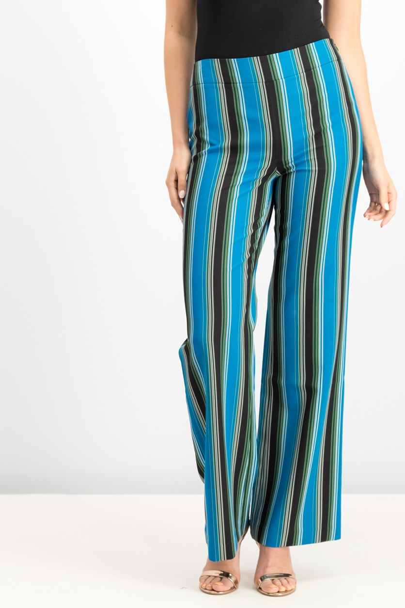 Women's Striped Wide-Leg Pants, Black/Blue