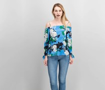 INC International Concepts Printed Cold-Shoulder Top, Sprinkle Linear