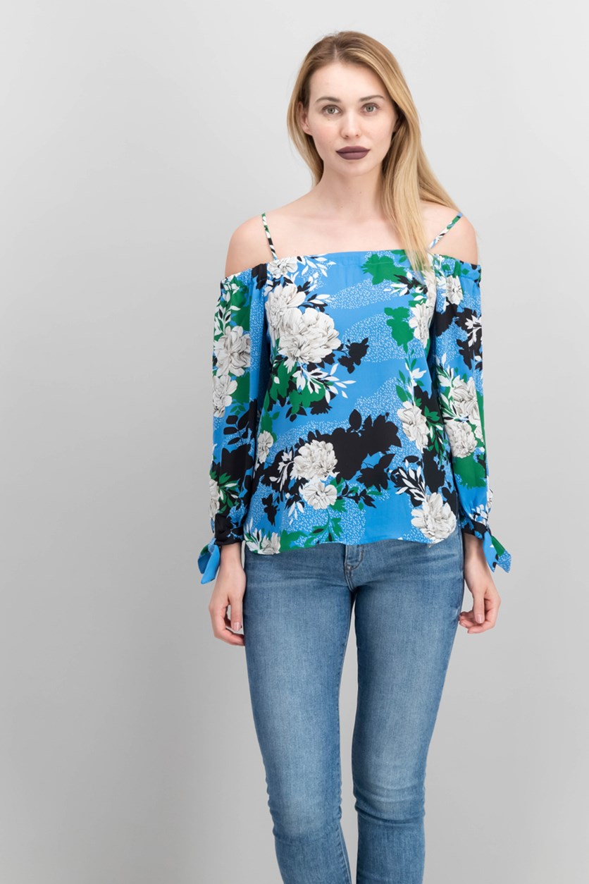 International Concepts Printed Cold-Shoulder Top, Sprinkle Linear