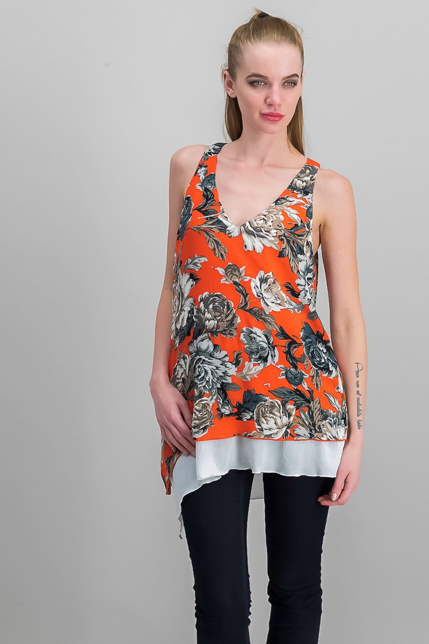 Women's Sleeveless Top, Orange/Red Combo
