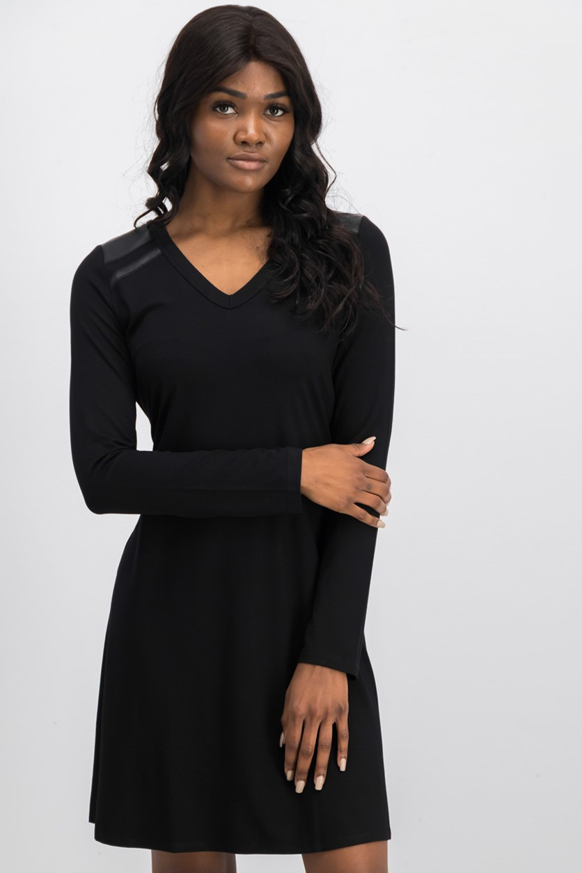 Faux Leather Shoulder Dress, Black