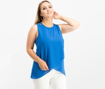 Karen Kane Asymmetrical Layered-Hem Top, Cobalt