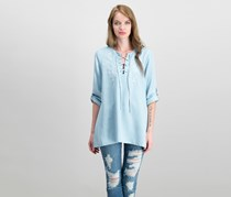 Karen Kane Embroidered Lace-Up Top, Chambray