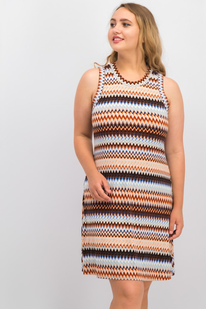 Karen Kane Zig-Zag Printed Sleeveless Dress, Brown Combo