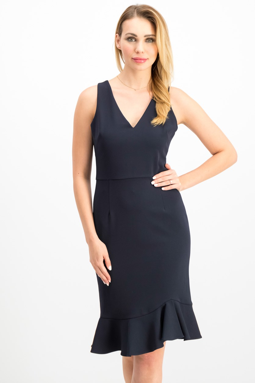 Women's Scuba-Crepe Dress, Navy