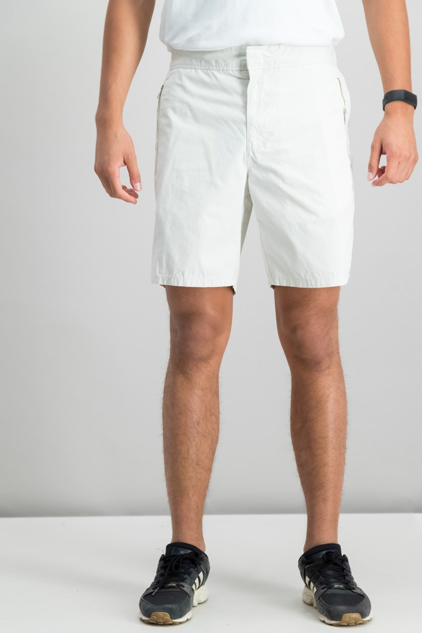 Men's Zipper Shorts, Silver Birch