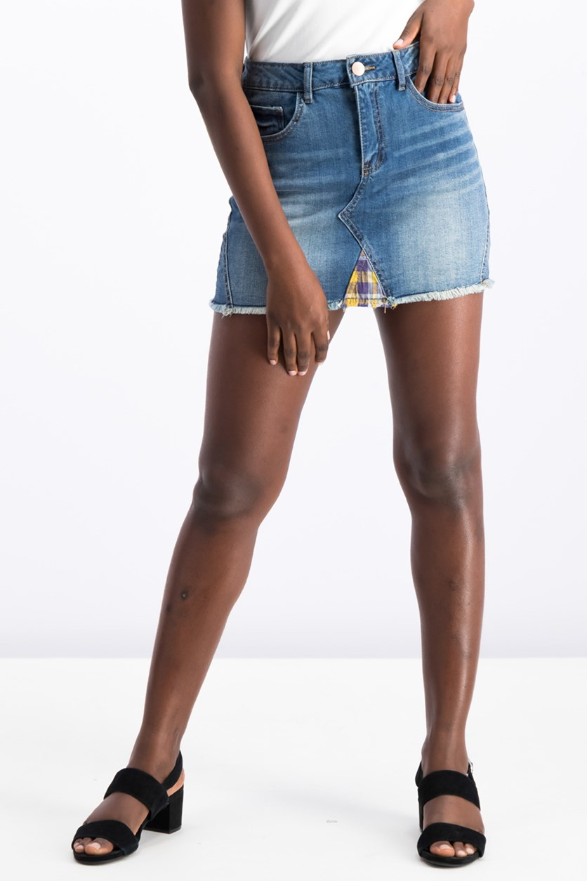 Plaid Contrast Denim Mini Skirt, Blue