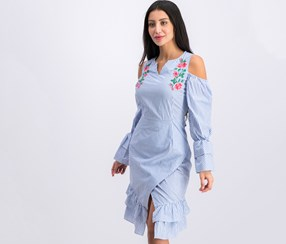 Women Juniors Striped Embroidered Dress, Blue/White