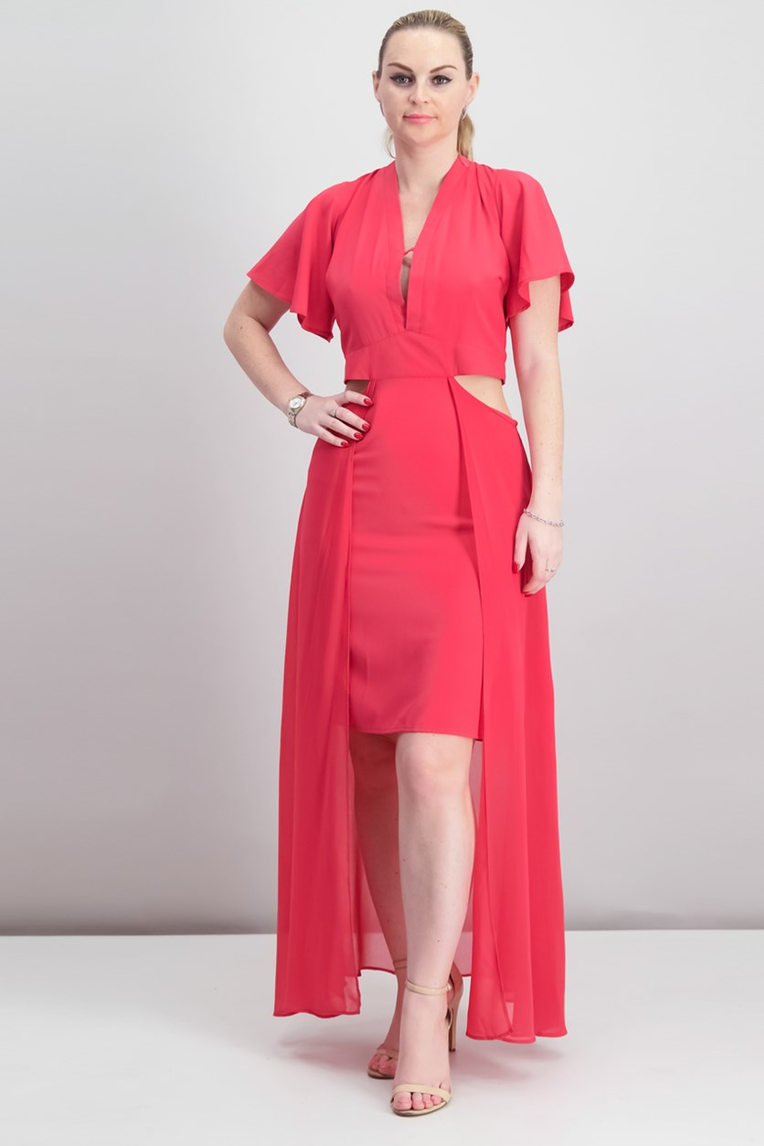 Juniors Cutout Maxi Dress, Raspberry Sorbet
