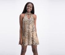 Speechless Junior's Leopard-Print Shift Dress, Brown/Taupe