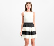 Speechless Juniors Striped Lace Fit Flare Dress, Ivory/Black