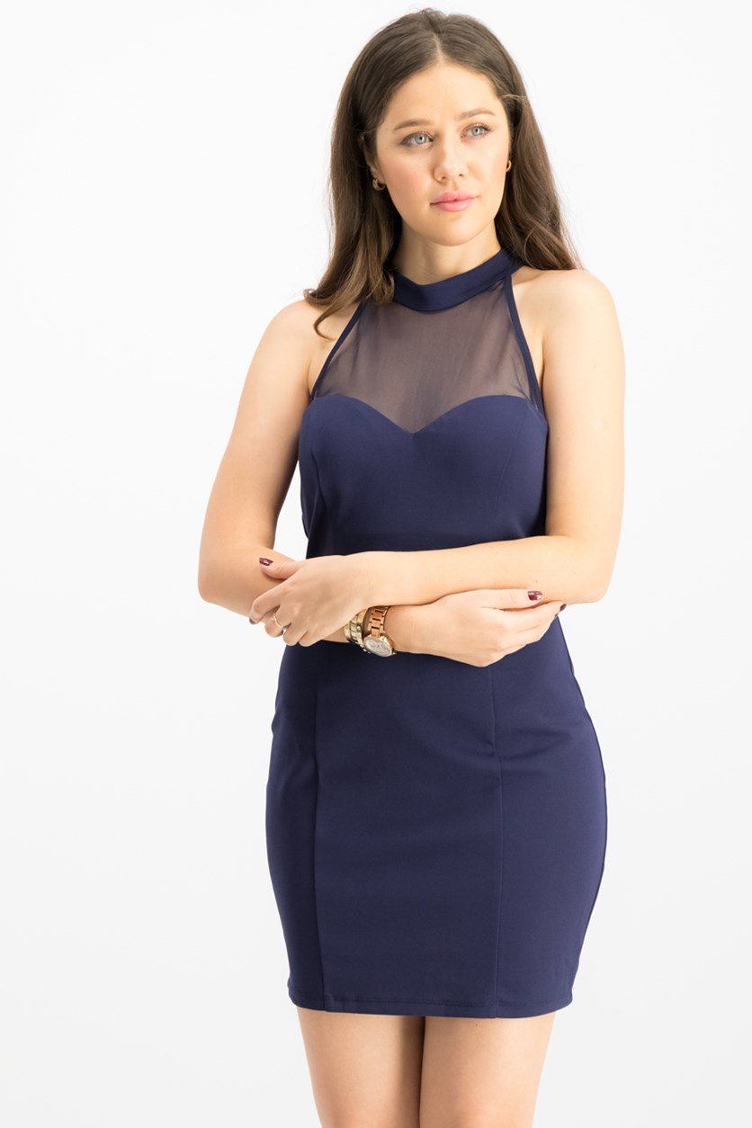 Juniors Illusion-Contrast Bodycon, Midnight