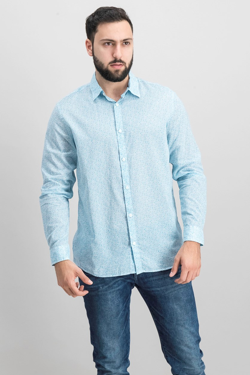 Men's Floral-Print Shirt, Light Jade