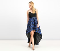 Betsy & Adam Women's Stripe High Low Dress, Black/Blue