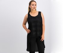 August Silk Lace-Front High-Low Blouse, Black