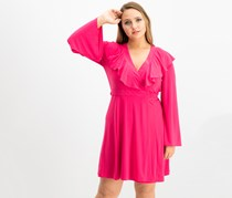 Taylor V-Neck Ruffled Wrap Dress, Fuschia