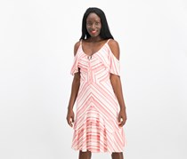 Sangria Striped Cold-Shoulder Ruffle Dress, Med Red/White