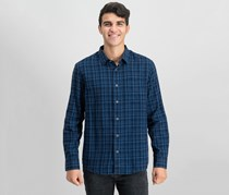 IKE By Ike Behar Linen Plaid Button Down Shirt, Navy Wind
