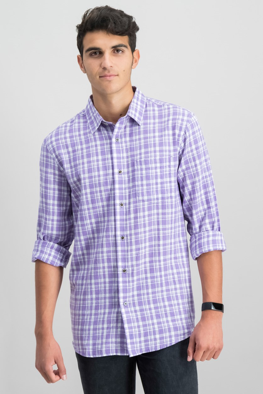 IKE By Ike Behar Linen Plaid Button Down Shirt, Violet