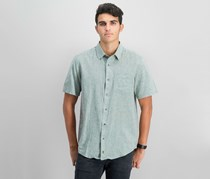 IKE By Ike Behar Mens Linen Button-Down Shirt, Olive Palm
