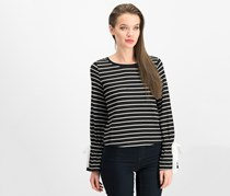 Maison Jules Striped Bell-Sleeve Sweater, Black