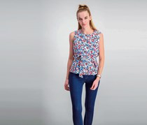 Women's Printed Blouse With Tie Waist Detail, Blue/Pink