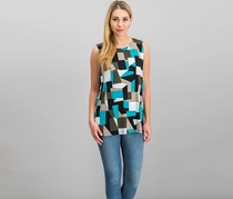 Kasper Women's Geometric-print Shell Top, Pacifica/Opal Combo
