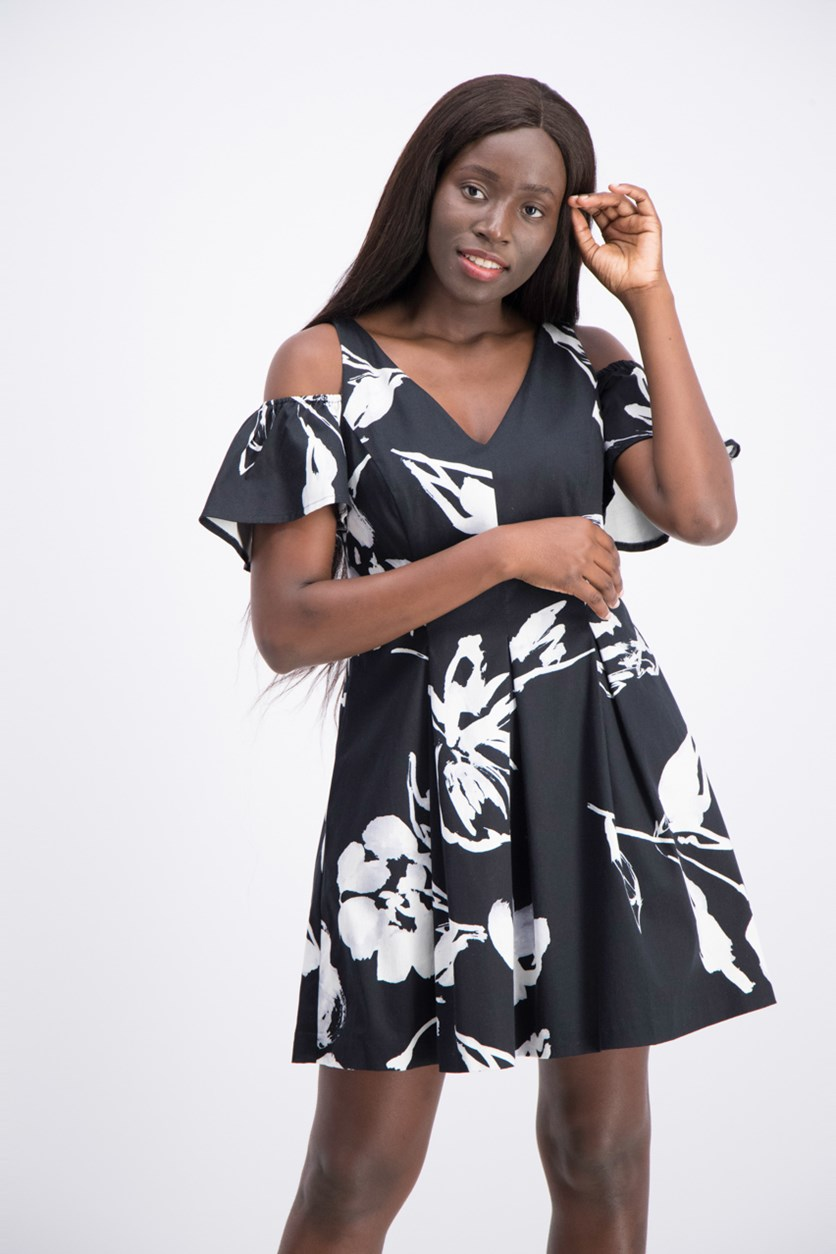 Petite Floral-Print Fit Flare Dress, Black/White