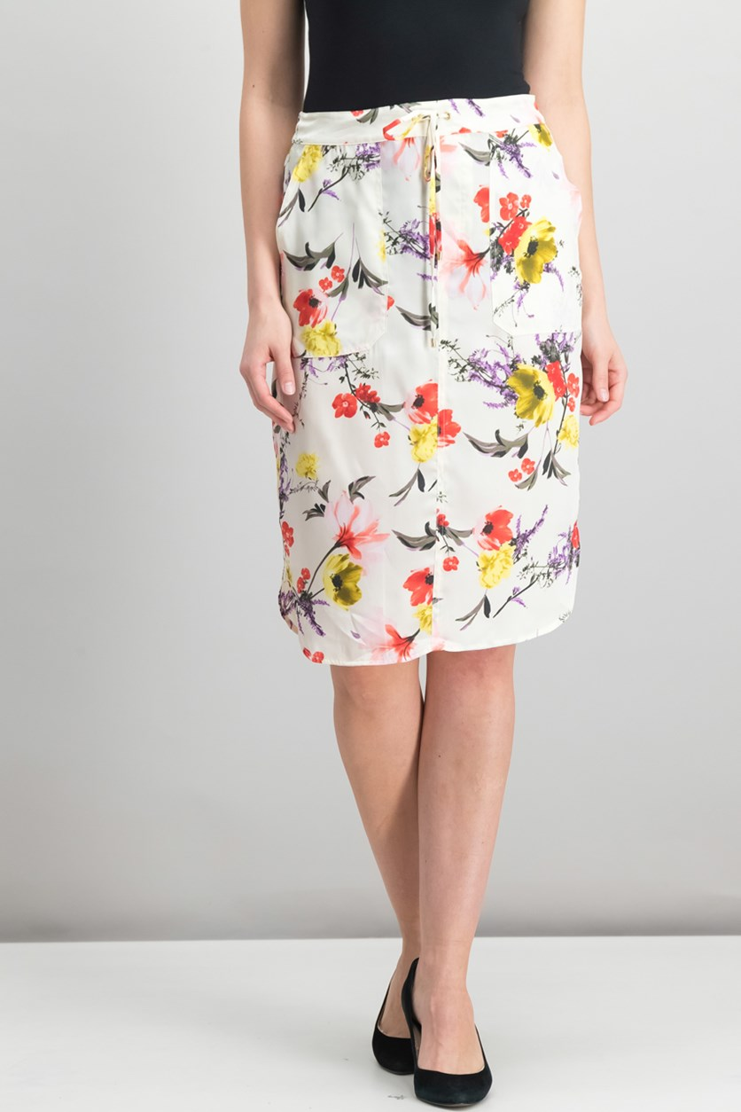 Floral-Print Twill Skirt, Cream Floral