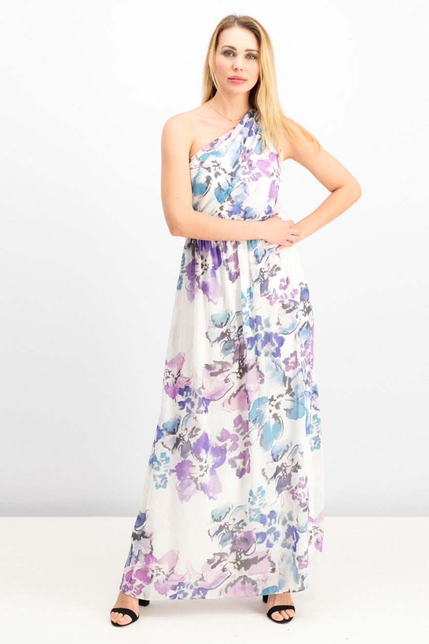 Women One-Shoulder Floral Georgette Gown, Cream/Purple/Blue