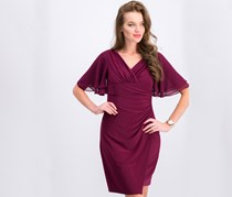 Petite Flutter-Sleeve Dress, Exotic Ruby