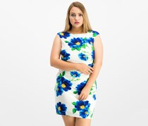 Ralph Lauren Women's Floral-Print Cap Sleeve Dress, Cream/Blue