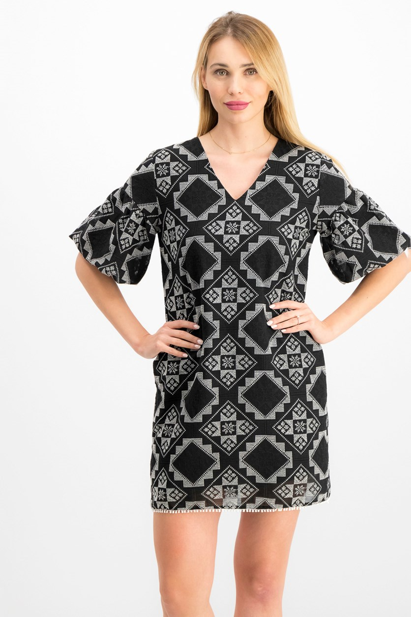 Petite Geo-Print Dress, Black