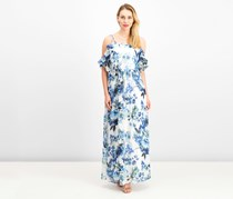 Ralph Lauren Ruffled Cold-Shoulder Maxi Dress, Blue