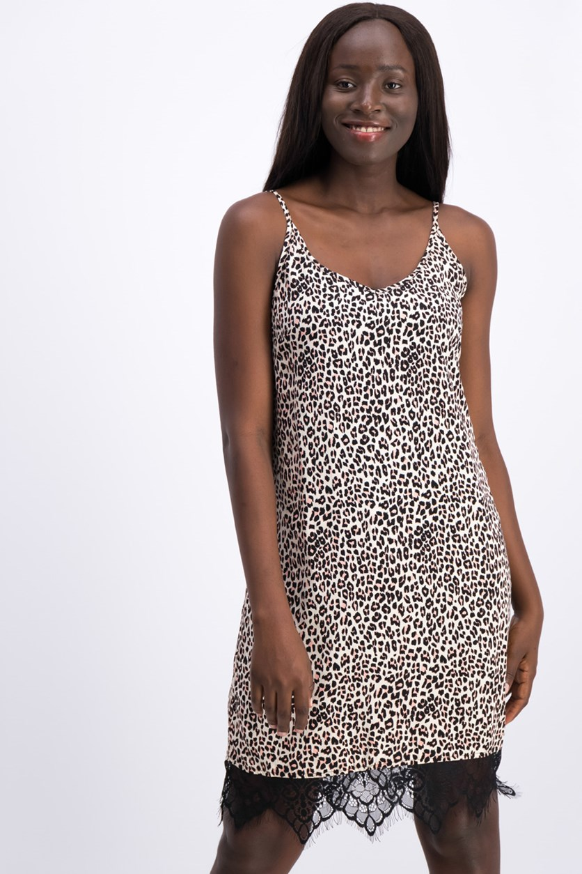 Juniors Printed Lace-Trim Slip Dress, Leopard Print/Black