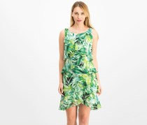 SLNY Women's Printed Tiered Shift Dress, Green