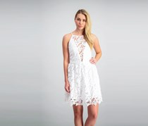 Bar III Lace Illusion Fit Flare Halter Dress, Washed White
