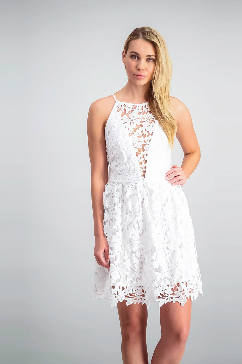 Lace Illusion Fit Flare Halter Dress, Washed White