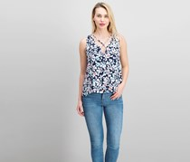 Necessary Objects Women's Floral Print Top, Navy/White