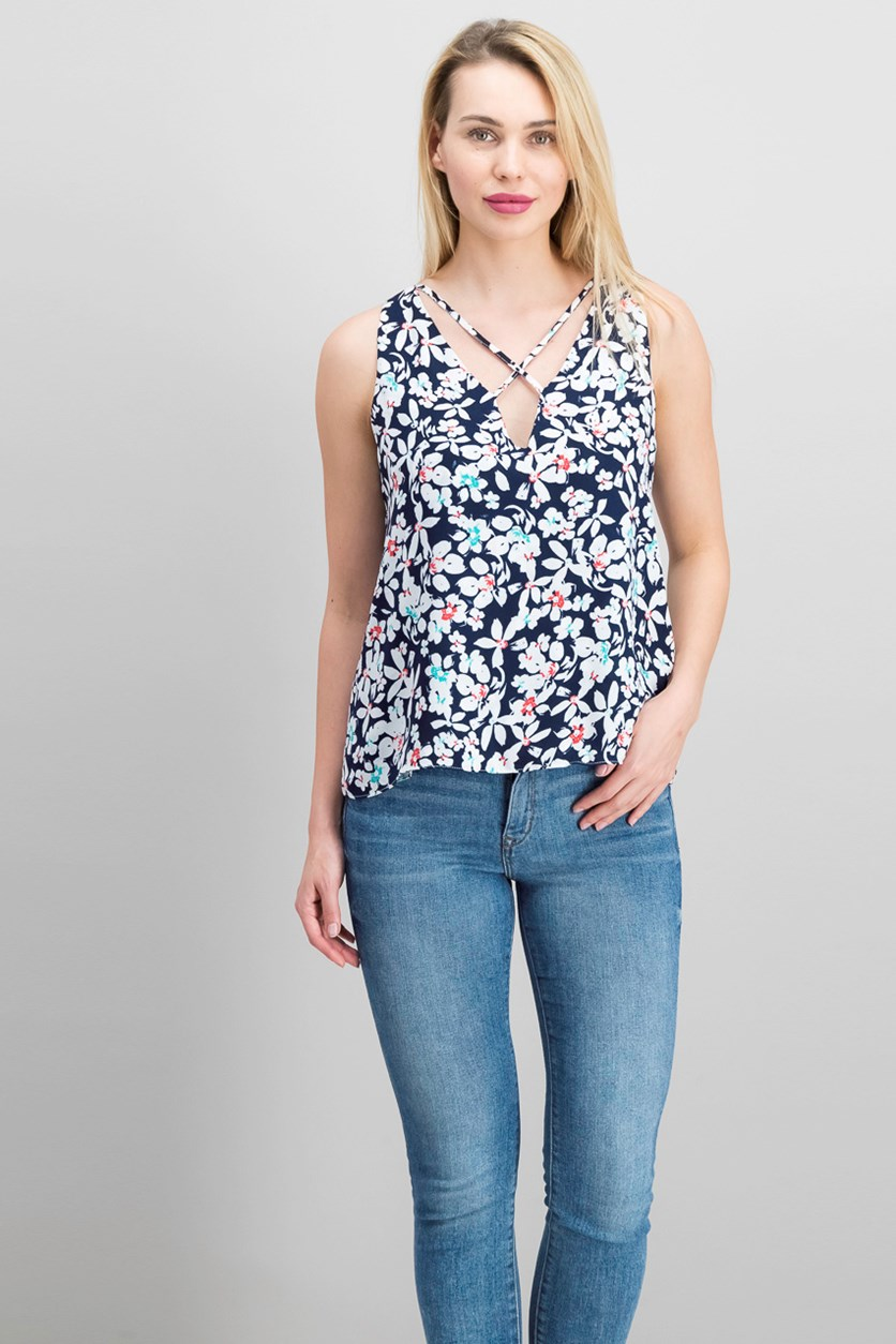 Women's Floral Print Top, Navy/White