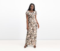 Adrianna Papell Petites Floral Matelasse Gown, Black/Beige